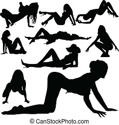 sexy girl beauty vector silhouettes