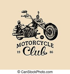 Motorcycle club advertising poster.Vector hand drawn chopper...