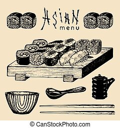 Vector hand drawn asian menu illustration. Hand sketched...