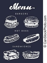 Fast food menu in vector. Burgers, hot dogs, sandwiches illustrations. Snack bar, street restaurant, cafe icons.