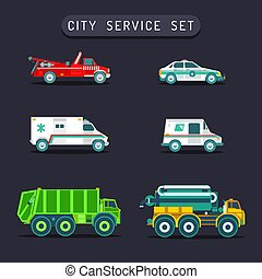 Vector city transport set in flat style.Town municipal different special,emergency service cars,trucks icons collection.