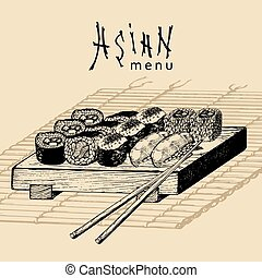 Vector hand drawn asian menu illustration.Hand sketched...