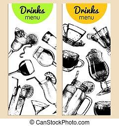 Cocktails, soft drinks and glasses for bar,restaurant,cafe...