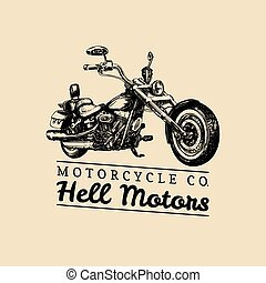 Hell Motors advertising poster. Vector hand drawn chopper...