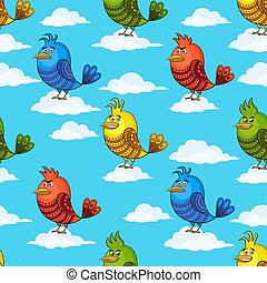 Funny Birds on Clouds, Seamless - Seamless Background with...