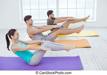 Young People Exercise Together Healthy Lifestyle Concept