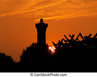 Sundown at the Peach Orchard at the Gettysburg National...