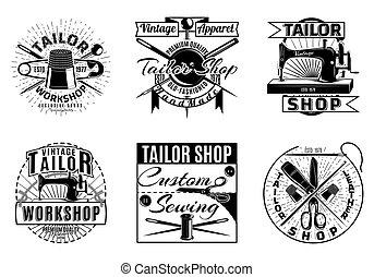 Vintage Tailor Workshop Labels Set - Vintage tailor workshop...