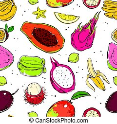 Sketch Colored Exotic Fruits Seamless Pattern - Sketch...