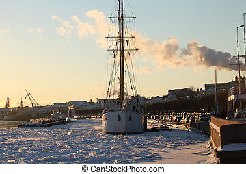 Sailing ship in the ice harbor