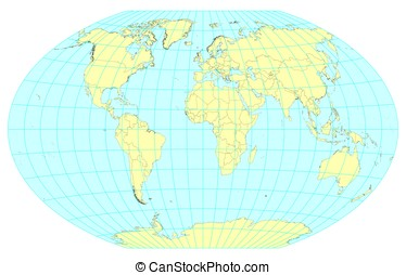 Map of the World Winkel Tripel - Very high detailed map of...
