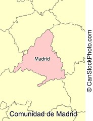 Madrid - Vector map of the autonomous community of Madrid....