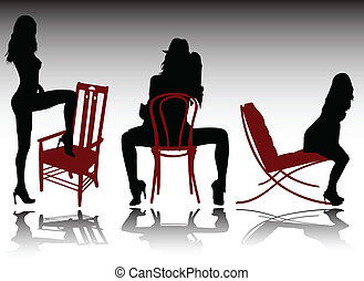 sexy girl on chair illustration