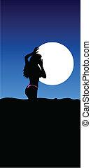 sexy girl on moon illustration