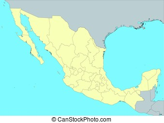 Map of Mexico - High detailed vector map of Mexico with...