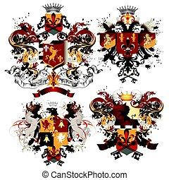 Collection of vector fleur de lis, shields for design.eps