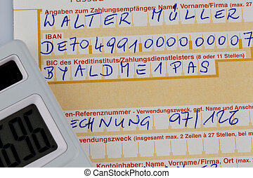 payment slip with iban number - a payment slip to transfer...