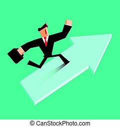 Businessman run on a growing arrow. Success concept.