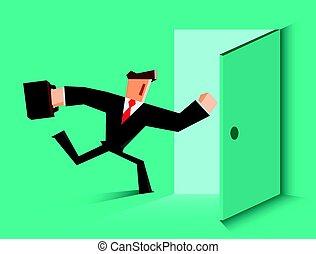 Businessman running in the open door.