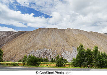 beautiful industrial landscape - salt tailings generated...