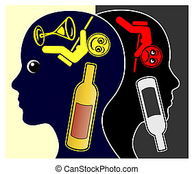 Alcohol and Depressions - Alcoholic woman getting depressed...