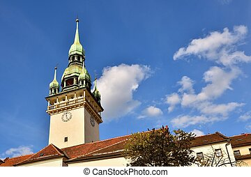 The city of Brno. - Czech Republic - Europe. Gate of the Old City Hall. A photo of the beautiful old architecture and tourist attraction with a lookout tower. Tourist Information Center.