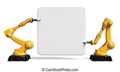 Robots holding a board