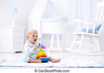 jogo, brinquedo, piramide, crianças, bebê, tocando