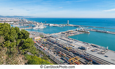 Sunshine on Balearic sea & Barcelona industrial shipping and...