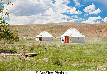 Two Kazakh yurt, a traditional dwelling in the steppes of...