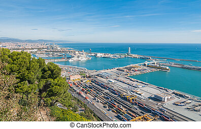 Sunshine on Balearic sea & Barcelona industrial shipping and...