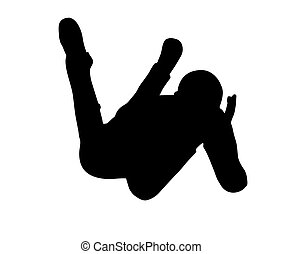 boy silhouette in sitting Laying pose - EPS 10 vector...