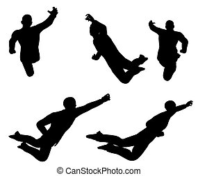 businessman silhouette in super power pose - EPS 10 vector...