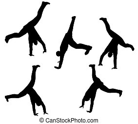 boy silhouette in sitting Cartwheel pose - EPS 10 vector...