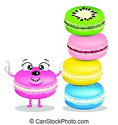 Cute macarons cartoon