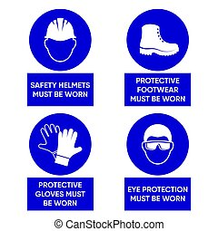 Mandatory health safety signs used in industrial...