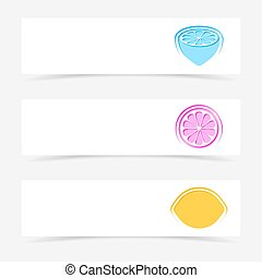 Vector banners with colorful lemon signs - Vector creative...