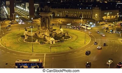 Plaza de Espana in Barcelona at night. Roundabout city...