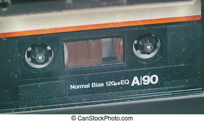 Cassette Tape with a White Blank Label. Vintage tape...
