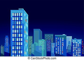 Stadt-Nacht.eps - Cityscape panorama in the evening...