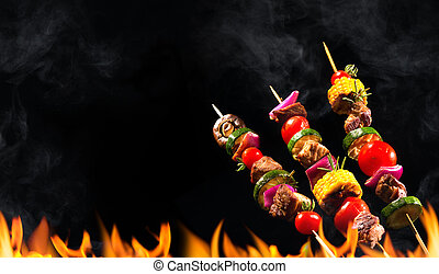 Collage of grilled meat skewers and vegetables