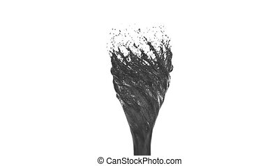 Liquid tornado on white background. Beautiful colored paint is whirling. Isolated transparent vortex of liquid like juice, 3d animation with alpha matte. Version 2