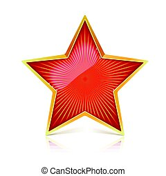 Red star with gold metal rim and radiating from the center...