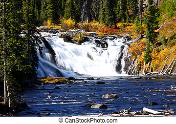 Lewis water falls in yellowstone national park