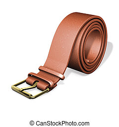 leather belt - 3d rendering illustration, leather belt with...