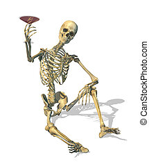 Cheers! - A skeleton enjoys a blood martini - 3D render.