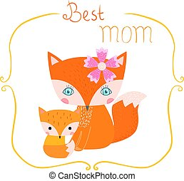 Cute greeting card with cartoon foxes for Mother's day with...