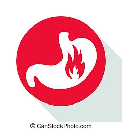 Vector Stomach with Fire - Vector Illustration of a Stomach...