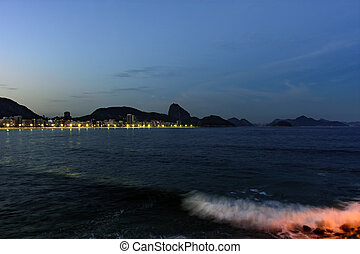 Copacabana at night - Copacabana Beach and Sugar Loaf seen...