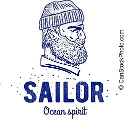 Old sailor logo or label. Seaman with a beard. Hand drawn...